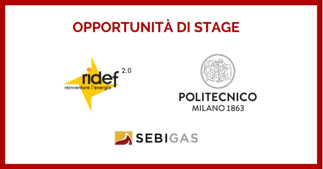 Opportunità di stage per gli studenti del Master RIDEF del Politecnico di Milano
